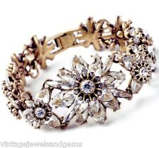 CHUNKY CLEAR WHITE CRYSTAL RHINESTONE Gold Link Flower Rose Statement Bracelet