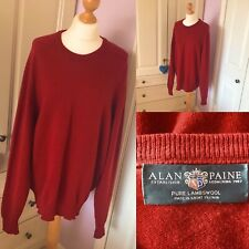 "Alan Paine Pure Lambswool Red Crew Neck Jumper Sweater XXL 48"" 50"" Chest"