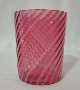 "Cranberry OPALESCENT Glass Tumbler REVERSE SWIRL 3-5/8"" MINTY!"