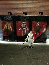 Star Wars Black Series figure lot Luke, Rey, L3-37. HASBRO