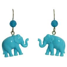 Tarina Tarantino Tiny Caravan Elephant Pierced Earrings Blue ~Made in California