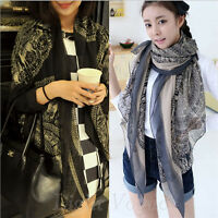 New Fashion Women Ladies Long Soft Voile Print Scarves Shawl Wrap Scarf Large 27