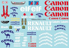 Decal Sheet 1/10 F1 Williams FW14 1992 pd1321