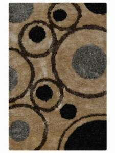 Abstract Soft Plush Modern Beige/Brown Silver Shaggy Oriental Area Rug 5x8 / 6x9