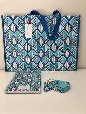 Vera Bradley NWT Go Fish Blue Bundle Set Bag Charm/Mini Notebook/Market Tote