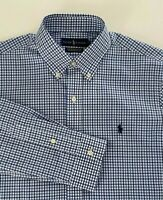 NWT POLO Ralph Lauren Men Mesh Shirt Pony Classic Fit Easy Care Navy Blue Medium