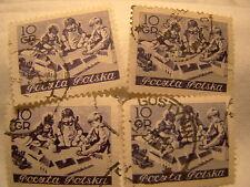 Poland Stamp 1953 Scott 605 A238 Purple 10 Gr Set of 4