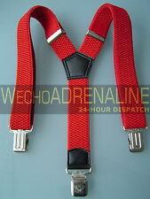 MENS MEN BRACES SUSPENDERS RED 40mm! Wide BIKER WORK HEAVY DUTY LEATHERS BRACES