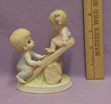 Homco Ceramic Figurine Boy & Girl Playing On See Saw Teeter Totter Cute