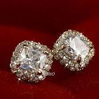 18K GOLD SIMULATED DIAMOND ELEGANT SPARKLING WEDDING WOMENS STUD EARRINGS