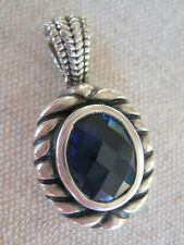 ESTATE VINTAGE HAND MADE 925 STERLING SILVER PENDANT ? LAB SAPPHIRE OVAL CUT ?CZ