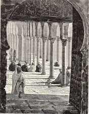 Old print entrance moskee mosque Marokko Morocco 1884 antique