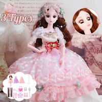 Ball Jointed BJD Doll Girl Wink Eyes Dress Princess Kids Toy Set Birthday Gift