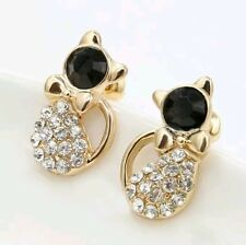 Funky Gold Plated White Rhinestone Black Diamond Cat Bow Earrings Gift with Bag