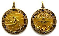 Medaglia Con Vernice Sportiva Biliardo-Carambola 1947 Torneo Sociale 1° A Coppie