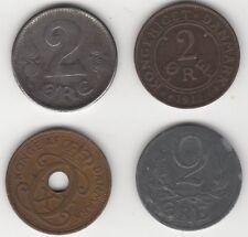 Colección de Monedas de Dinamarca 2 Ore | monedas europeas | centavos 2 libras