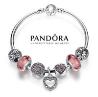 Authentic Pandora Bangle Bracelet Silver S925 with 7 Charms Pink Rose Love Heart
