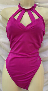 Vtg 80s JAG Pink High Cut Strappy One Piece Swimsuit 14 ~ L Large