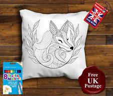 Fox Colouring Cushion Cover, Fox Cushion, 8 x Fabric Pens, Handmade,