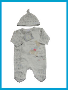 Peter Rabbit Sleepsuit And Hat Outfit Up to 7.5Lbs Small Baby