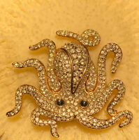 SWAROVSKI Swan Signed Crystal Octopus Brooch Pin