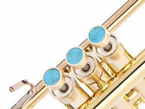 Trumpet Trim Kit for Getzen HEAVY RAW BRASS with stones Turquoise