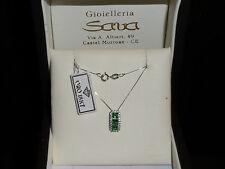 Bellissima collana e ciondolo con zirconcini bianchi e verdi in oro 750 18 kt