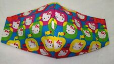 Hello Kitty Face Mask Adult Size 3-Layers Filter Pocket Option. Colorful Apples