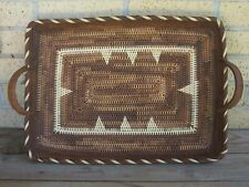 Handmade Southwestern Tightly Woven Basket Serving Tray with Handles