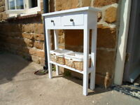 H75 x W60 x D20cm BESPOKE CONSOLE HALL BEDROOM TABLE 2 DRAWERS WHITE
