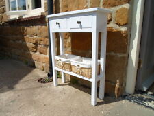 H80 x W80 x D18cm BESPOKE CONSOLE TABLE 2 DRAWERS WHITE with Baskets