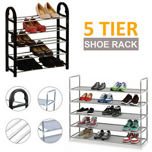 5 Tier Organiser Shelf Extendable Shoe Rack Stand Compact Space Saving Storage