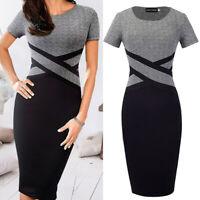 Women Office Classic Short Sleeve Elegant Slim Business Bodycon Pencil Dress US