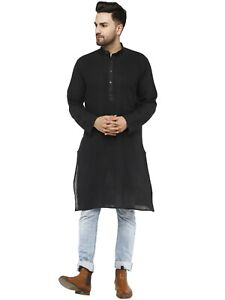 Men's Indian Cotton Long Kurta Casual Button Down Shirt Wedding Outfit Dress