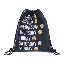 Black Emoji Cute 3D Pattern Travel Backpack Softback Harajuku Drawstring Bag