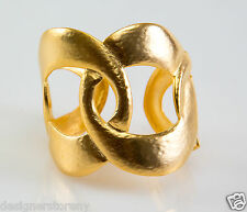 Kenneth Jay Lane Satin Gold Open Link Hinged Cuff Bracelet