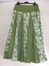 "Dash Skirt Panelled Crinkled Unlined Cotton Size 12 L34"" Green White Floral"