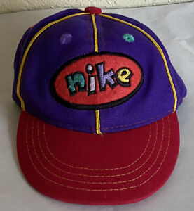 Vintage Nike Hat Cap 90s Spell Out Swoosh Toddler Kids Multi Color Block