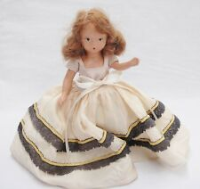 """Vintage Bisque Storybook Doll with Beige Dress Plastic Arms Frozen Legs 6.5"""""""