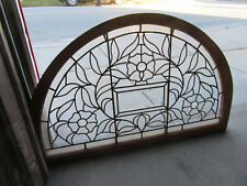 ~ ANTIQUE STAINED BEVELED GLASS TRANSOM WINDOW ~ FLOWERS ~ 47 X 30 ~ SALVAGE