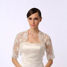 Lace Long Sleeves Bolero Shrug Jacket Stole Wedding Prom Party Dress White Ivory