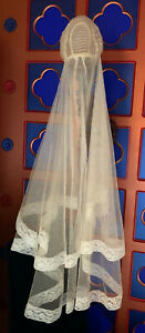 ANTIQUE BRIDAL VEIL JULIET CAP IRIDESCENT SEQUINS SEED PEARLS LACE TULLE