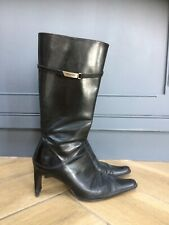 Kenneth Cole New York UK 4.5 Calf Length Black Leather Boots