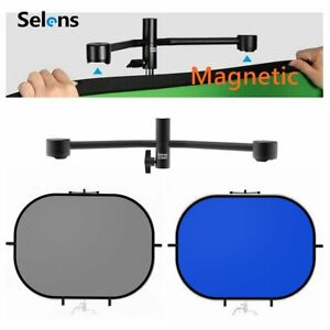 Selens Portable Blue Gery Oval Backdrop + Magnetic Tools Absorb in Tripods Kit