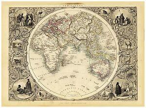 Old Vintage Map of Eastern Hemisphere richly illustrated Tallis 1851
