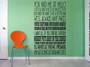 Romantic Movie Quotes, wall art vinyl decal sticker