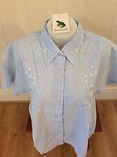Ladies Grenouille Seersucker Cotton Short Sleeve Shirt, XL, - Blue/flowers