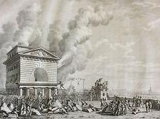 Révolution française Barrière de conférence incendiée eau-forte 1804 Berthault