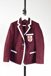School Blazer Burgundy with White trim St George Shield embroidered