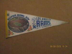 NFL Los Angeles Rams Vintage Super Bowl XIV Rare 1980 Team Logo Football Pennant